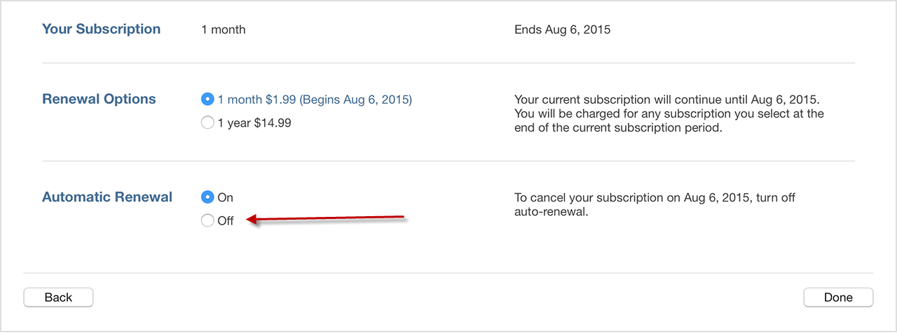 how to cancel subscription on itunes store